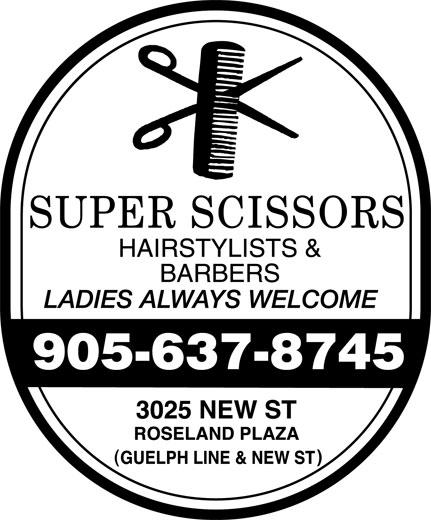 Super Scissors Hairstylists & Barbers (905-637-8745) - Annonce illustrée======= -