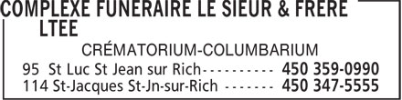 Le Sieur & Frère (450-359-0990) - Display Ad - CRÉMATORIUM-COLUMBARIUM