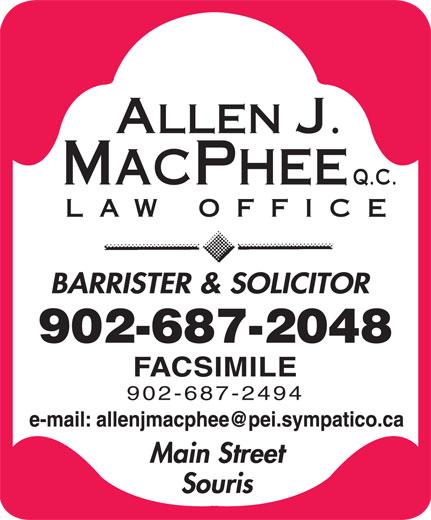 Allen J. MacPhee, QC (902-687-2048) - Display Ad - 902-687-2048 902-687-2494