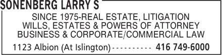 Schrieder & Sonenberg (416-749-6000) - Annonce illustrée======= - SINCE 1975-REAL ESTATE, LITIGATION WILLS, ESTATES & POWERS OF ATTORNEY BUSINESS & CORPORATE/COMMERCIAL LAW