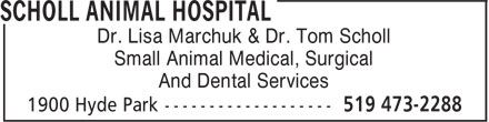 Scholl Animal Hospital (519-473-2288) - Display Ad - Small Animal Medical, Surgical And Dental Services Dr. Lisa Marchuk & Dr. Tom Scholl