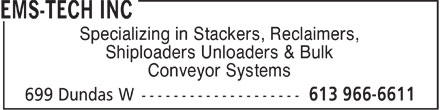 EMS-Tech Inc (613-966-6611) - Display Ad - Specializing in Stackers, Reclaimers, Shiploaders Unloaders & Bulk Conveyor Systems