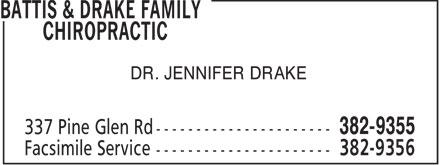 Battis & Drake Family Chiropractic (506-382-9355) - Display Ad - DR. JENNIFER DRAKE