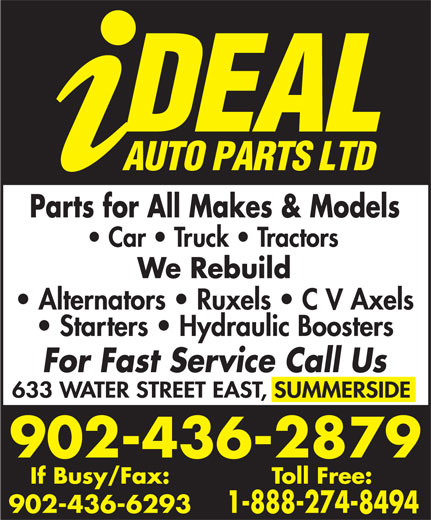 Ideal Auto Parts (902-436-2879) - Display Ad - 902-436-6293 902-436-2879