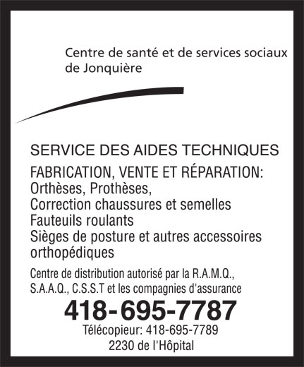 Centre de Santé et des Services Sociaux de Jonquière (418-695-7787) - Annonce illustrée======= - Centre de santé et de services sociaux de Jonquière 418-