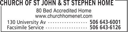 Church of St John & St Stephen Home (506-643-6001) - Display Ad - 80 Bed Accredited Home www.churchhomenet.com