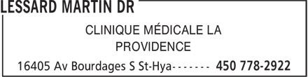 Lessard Martin Dr (450-778-2922) - Annonce illustrée======= - CLINIQUE MÉDICALE LA PROVIDENCE