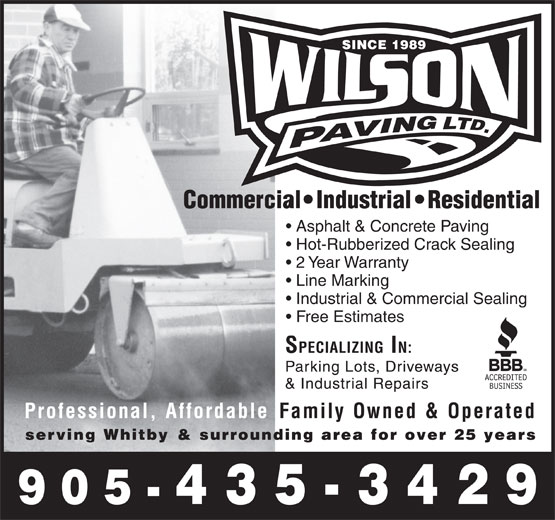 Wilson Paving Ltd (905-435-3429) - Display Ad - Asphalt & Concrete Paving Hot-Rubberized Crack Sealing 2 Year Warranty Line Marking Industrial & Commercial Sealing Free Estimates