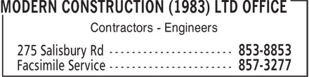 Modern Construction (1983) Ltd Office (506-853-8853) - Display Ad - Contractors - Engineers