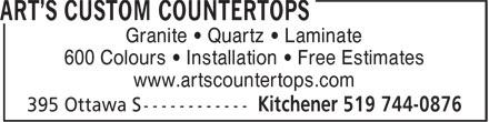 Art's Custom Countertops (519-744-0876) - Annonce illustrée======= - Granite • Quartz • Laminate 600 Colours • Installation • Free Estimates www.artscountertops.com