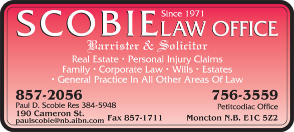 Scobie Law Office (506-857-2056) - Display Ad -