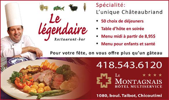 Restaurant Bar Le Légendaire (418-543-6120) - Annonce illustrée======= -