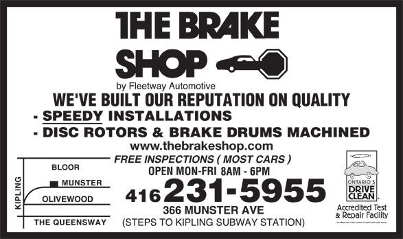 The Brake Shop (416-231-5955) - Display Ad - www.thebrakeshop.com www.thebrakeshop.com