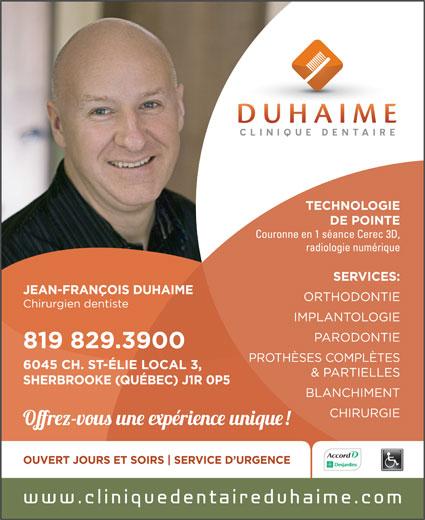 Duhaime Jean-François Dr (819-829-3900) - Annonce illustrée======= -