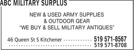 ABC Military Surplus (519-571-8567) - Annonce illustrée======= - NEW & USED ARMY SUPPLIES & OUTDOOR GEAR ¿WE BUY & SELL MILITARY ANTIQUES¿