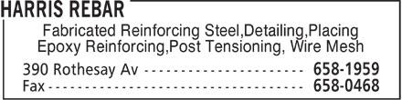 Harris Rebar (506-658-1959) - Display Ad - Fabricated Reinforcing Steel,Detailing,Placing Epoxy Reinforcing,Post Tensioning, Wire Mesh