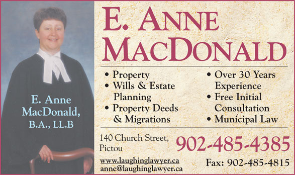 Roddam & MacDonald (902-485-4385) - Annonce illustrée======= - Property Over 30 Years Wills & Estate Experience Planning Free Initial Property Deeds Consultation & Migrations Municipal Law 902-485-4385 Fax: 902-485-4815
