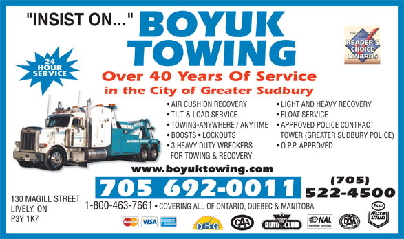 Boyuk Towing (705-522-4500) - Display Ad -