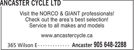 Ancaster Cycle Ltd (905-648-2288) - Annonce illustrée======= - Visit the NORCO & GIANT professionals! Check out the area's best selection! Service to all makes and models www.ancastercycle.ca  Visit the NORCO & GIANT professionals! Check out the area's best selection! Service to all makes and models www.ancastercycle.ca