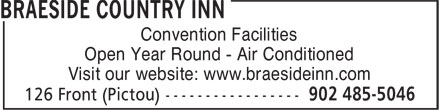 Braeside Country Inn (902-485-5046) - Annonce illustrée======= - Convention Facilities Open Year Round - Air Conditioned Visit our website: www.braesideinn.com