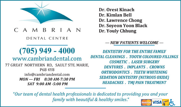 Cambrian Dental Centre (705-949-4000) - Display Ad -