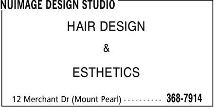 NuImage Design Studio (709-368-7914) - Display Ad - HAIR DESIGN & ESTHETICS