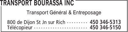 Transport Bourassa Inc (1-800-363-9254) - Display Ad - Transport Général & Entreposage