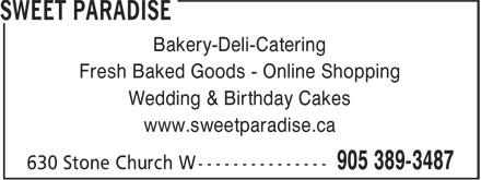 Sweet Paradise (905-389-3487) - Display Ad -