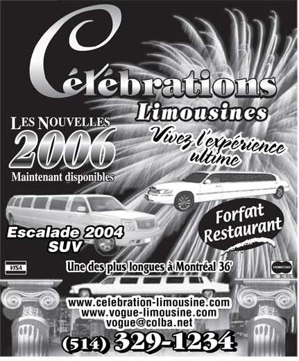 Célébrations Limousines (514-329-1234) - Annonce illustrée======= -