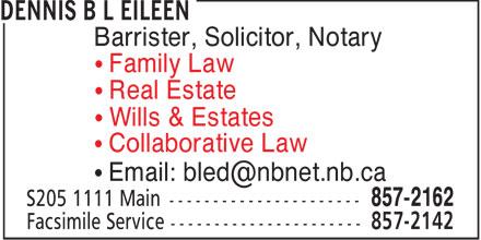 Dennis B L Eileen (506-857-2162) - Display Ad -
