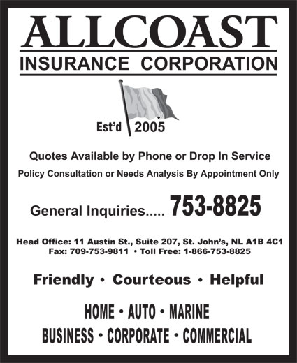 Allcoast Insurance Corporation (709-753-8825) - Display Ad - Est d