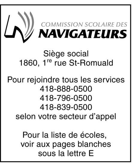 Commission scolaire des Navigateurs (418-839-0500) - Annonce illustrée======= -
