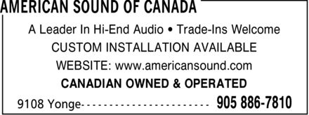 American Sound Of Canada (905-886-7810) - Annonce illustrée======= - AMERICAN SOUND OF CANADA A Leader In Hi-End Audio ¿ Trade-Ins Welcome CUSTOM INSTALLATION AVAILABLE WEBSITE: www.americansound.com CANADIAN OWNED & OPERATED 9108 Yonge 905 886-7810 AMERICAN SOUND OF CANADA A Leader In Hi-End Audio ¿ Trade-Ins Welcome CUSTOM INSTALLATION AVAILABLE WEBSITE: www.americansound.com CANADIAN OWNED & OPERATED 9108 Yonge 905 886-7810 AMERICAN SOUND OF CANADA A Leader In Hi-End Audio ¿ Trade-Ins Welcome CUSTOM INSTALLATION AVAILABLE WEBSITE: www.americansound.com CANADIAN OWNED & OPERATED 9108 Yonge 905 886-7810 AMERICAN SOUND OF CANADA A Leader In Hi-End Audio ¿ Trade-Ins Welcome CUSTOM INSTALLATION AVAILABLE WEBSITE: www.americansound.com CANADIAN OWNED & OPERATED 9108 Yonge 905 886-7810 AMERICAN SOUND OF CANADA A Leader In Hi-End Audio ¿ Trade-Ins Welcome CUSTOM INSTALLATION AVAILABLE WEBSITE: www.americansound.com CANADIAN OWNED & OPERATED 9108 Yonge 905 886-7810 AMERICAN SOUND OF CANADA A Leader In Hi-End Audio ¿ Trade-Ins Welcome CUSTOM INSTALLATION AVAILABLE WEBSITE: www.americansound.com CANADIAN OWNED & OPERATED 9108 Yonge 905 886-7810 AMERICAN SOUND OF CANADA A Leader In Hi-End Audio ¿ Trade-Ins Welcome CUSTOM INSTALLATION AVAILABLE WEBSITE: www.americansound.com CANADIAN OWNED & OPERATED 9108 Yonge 905 886-7810 AMERICAN SOUND OF CANADA A Leader In Hi-End Audio ¿ Trade-Ins Welcome CUSTOM INSTALLATION AVAILABLE WEBSITE: www.americansound.com CANADIAN OWNED & OPERATED 9108 Yonge 905 886-7810 AMERICAN SOUND OF CANADA A Leader In Hi-End Audio ¿ Trade-Ins Welcome CUSTOM INSTALLATION AVAILABLE WEBSITE: www.americansound.com CANADIAN OWNED & OPERATED 9108 Yonge 905 886-7810