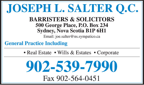 Salter Joseph L QC (902-539-7990) - Display Ad - Fax 902-564-0451 902-539-7990