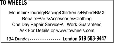 To Wheels (519-663-9447) - Display Ad - Mountain Touring Racing Children's Hybrid BMX Repairs Parts Accessories Clothing One Day Repair Service All Work Guaranteed Ask For Details or www.towheels.com  Mountain Touring Racing Children's Hybrid BMX Repairs Parts Accessories Clothing One Day Repair Service All Work Guaranteed Ask For Details or www.towheels.com  Mountain Touring Racing Children's Hybrid BMX Repairs Parts Accessories Clothing One Day Repair Service All Work Guaranteed Ask For Details or www.towheels.com  Mountain Touring Racing Children's Hybrid BMX Repairs Parts Accessories Clothing One Day Repair Service All Work Guaranteed Ask For Details or www.towheels.com  Mountain Touring Racing Children's Hybrid BMX Repairs Parts Accessories Clothing One Day Repair Service All Work Guaranteed Ask For Details or www.towheels.com  Mountain Touring Racing Children's Hybrid BMX Repairs Parts Accessories Clothing One Day Repair Service All Work Guaranteed Ask For Details or www.towheels.com  Mountain Touring Racing Children's Hybrid BMX Repairs Parts Accessories Clothing One Day Repair Service All Work Guaranteed Ask For Details or www.towheels.com  Mountain Touring Racing Children's Hybrid BMX Repairs Parts Accessories Clothing One Day Repair Service All Work Guaranteed Ask For Details or www.towheels.com