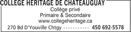 Collège Héritage de Châteauguay (450-692-5578) - Annonce illustrée======= - Collège privé Primaire & Secondaire www.collegeheritage.ca