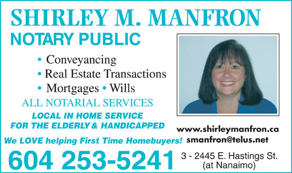 Manfron Shirley M (604-253-5241) - Display Ad -