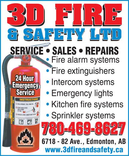 3D Fire & Safety Ltd (780-469-8627) - Annonce illustrée======= -