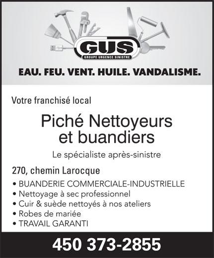 Piché Nettoyeurs et Buandiers/GUS (450-373-2855) - Annonce illustrée======= -
