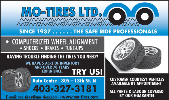 Mo-Tires Ltd (403-327-3181) - Display Ad -
