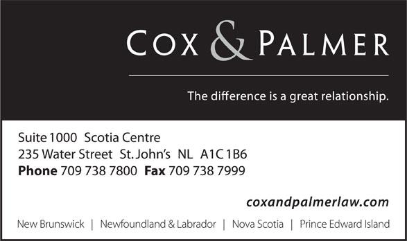 Cox & Palmer (709-738-7800) - Display Ad -