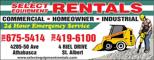 Select Equipment Rentals (780-675-8040) - Display Ad - 780 780 4205-50 Ave 4 RIEL DRIVE www.selectequipmentrentals.com