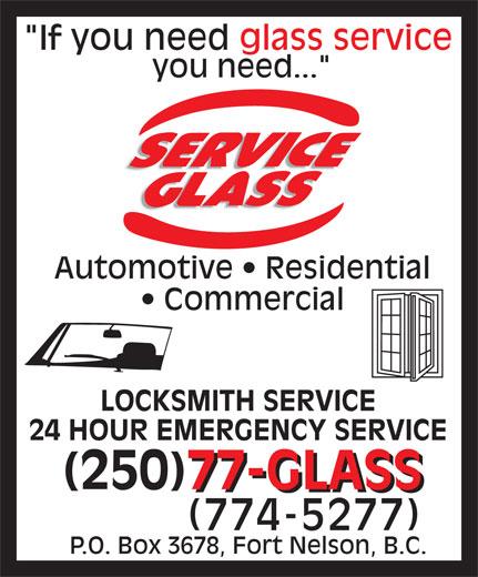 Service Glass Ltd (250-774-5277) - Display Ad -