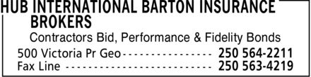 HUB International Barton Insurance Brokers (250-564-2211) - Display Ad - Contractors Bid, Performance & Fidelity Bonds