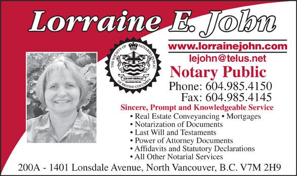 John Lorraine Notary Public (604-985-4150) - Annonce illustrée======= -