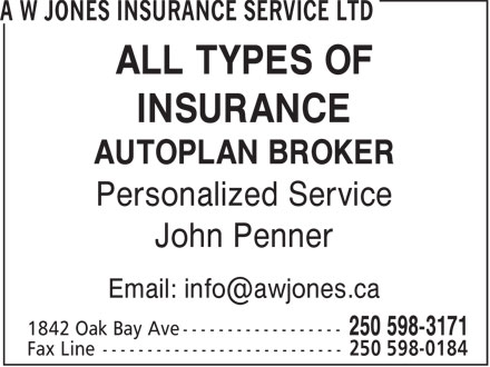 A W Jones Insurance Service Ltd (250-598-3171) - Display Ad - ALL TYPES OF INSURANCE AUTOPLAN BROKER Personalized Service John Penner ALL TYPES OF INSURANCE AUTOPLAN BROKER Personalized Service John Penner