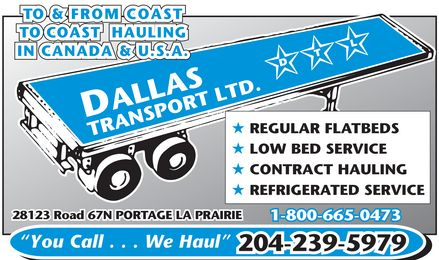 Dallas Transport Ltd (204-239-5979) - Display Ad -