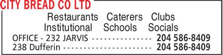 City Bread Co Ltd (204-586-8409) - Display Ad - Restaurants Caterers Clubs Institutional Schools Socials  Restaurants Caterers Clubs Institutional Schools Socials