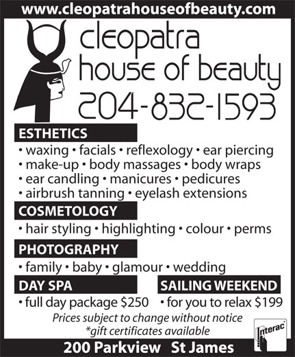 Cleopatra House Of Beauty (204-832-1593) - Display Ad -