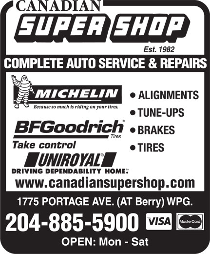 Canadian Super Shop Inc (204-885-5900) - Annonce illustrée======= - www.canadiansupershop.com 204-885-5900